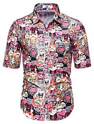 voordelige -Heren Cartoon Print Overhemd Hawaii Dagelijks Rood