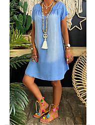cheap -Women's Denim Dress Knee Length Dress Black Blue Gray Light Blue Short Sleeve Solid Color Summer V Neck Hot Casual Chinoiserie 2021 S M L XL XXL 3XL