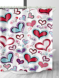 cheap -Heart Haped love Digital Print Waterproof Fabric Shower Curtain for Bathroom Home Decor Covered Bathtub Curtains Liner Includes with Hooks