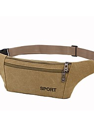 cheap -Unisex Bags Canvas Fanny Pack Canvas Bag Daily Outdoor Black Army Green Khaki Coffee