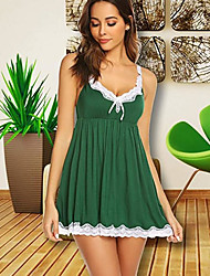 cheap -Women's Lace Bow Babydoll & Slips Nightwear Embroidered Black / Red / Green S M L