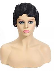 billige -Parykk Kort Krøllet Bølget Pixiefrisyre Naturlig Lett å bære Dame Ny ankomst Lokkløs Brasiliansk hår Burmesisk hår Dame Svart 6 tommer