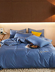 cheap -Solid Color Microfiber Duvet Cover Set Lightweight Reversible Zipper Closure Soft 4 Pcs Set(1 Duvet Cover 1 Bed Sheet 2 Pillow Shams)
