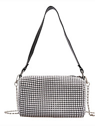 cheap -Women's Bags PU Leather / Polyester Crossbody Bag Crystals Chain Solid Color for Daily / Holiday Black / Silver / Fall & Winter