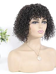 cheap -Remy Human Hair Wig Short Bohemian Curly Neat Bang Natural Best Quality Capless Brazilian Hair Women's Natural Black #1B 10 inch
