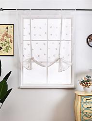 cheap -Adorable Bowknot Tie Up Roman Curtain Tab Top Balloon Curtain Semi Sheer Kitchen Balloon Window Curtain