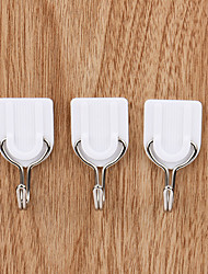 cheap -6pcs Self Adhesive White Wall Hanger Sticky Door Hooks Home Aid