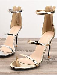 cheap -Women's Sandals Stiletto Heel Round Toe Daily PU Summer Gold Silver