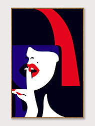 cheap -Framed Art Pop Cartoon Canvas Printing Modern Fashion Red Lip Temptation PS Oil Painting  Wall Art Suitable for Porch Corridor Decorates Ready To Hang