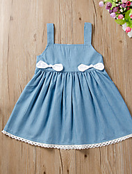 cheap -Baby Girls' Active Basic Blue Solid Colored Sleeveless Knee-length Dress Blue