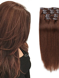 cheap -Clip In / On Hair Extensions Remy Human Hair Clip On Hair Extensions 7pcs 100 g Pack Straight Brown 14-24 inch Hair Extensions