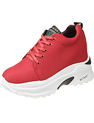 cheap -Women's Sneakers Spring Fall Hidden Heel Round Toe Casual Daily Outdoor Solid Colored Canvas Black / Red