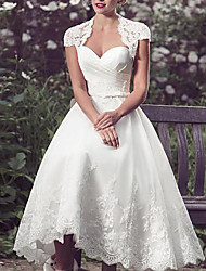cheap -A-Line Wedding Dresses Sweetheart Neckline Knee Length Lace Tulle Sleeveless Vintage 1950s with Appliques 2020