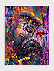 cheap -Sechars Colorful Animal Wall Art Abstract orangutans Head Oil Painting Animal Pictures Art Hand Painted on Canvas Artwork  for Home Office Bedroom Deco Rolled Without Frame