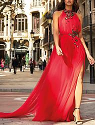preiswerte -A-Linie Elegant Schöner Rücken Verlobung Formeller Abend Kleid Halter Ärmellos Boden-Länge Tüll mit Paillette Geschlitzt 2020