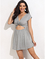 cheap -Women's Sheath Dress Short Mini Dress - Short Sleeve Solid Color Summer Casual Sexy 2020 Gray XS S M L