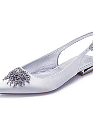 cheap -Women's Wedding Shoes Flat Heel Pointed Toe Wedding Flats Classic Sweet Wedding Party & Evening Satin Rhinestone Solid Colored White Black Purple