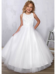 cheap -Princess / A-Line Floor Length Wedding / Party Flower Girl Dresses - Satin / Tulle Sleeveless Jewel Neck with Beading