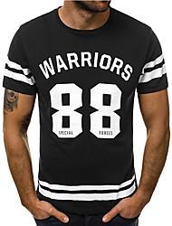 זול -בגדי ריקוד גברים אותיות טישרט בסיסי יומי לבן / שחור / פול / אודם / תלתן
