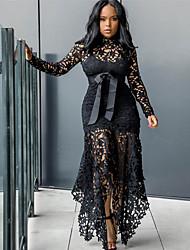 رخيصةأون -نسائي فستان شيث فستان طويل - كم طويل لون الصلبة الصيف الخريف رسمي مثيرة 2020 أبيض أسود S M L XL XXL XXXL