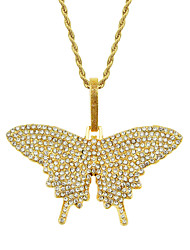 cheap -Women's Pendant Necklace Necklace Long Necklace Pave Butterfly Dainty Classic Trendy Fashion Chrome Gold Silver 75 cm Necklace Jewelry 1pc For Anniversary Party Evening Street Beach Festival