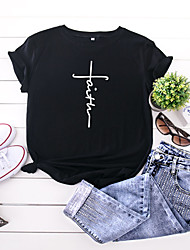 cheap -Women's Faith T shirt Graphic Text Letter Print Round Neck Tops 100% Cotton Basic Basic Top Black Yellow Blushing Pink