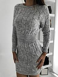 cheap -Women's Sweater Jumper Dress Short Mini Dress - Long Sleeve Fall Winter Casual Cotton 2020 White Blue Green Brown Navy Blue Gray S M L XL