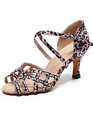 cheap -Women's Latin Shoes Jazz Shoes Dance Boots Heel Crystal / Rhinestone Slim High Heel Leopard Buckle