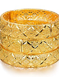 cheap -Women's Bracelet Bangles Hollow Out Wedding Vintage Theme Luxury Classic Trendy Ethnic Africa 24K Gold Plated Bracelet Jewelry Gold For Christmas Wedding Gift Birthday Festival