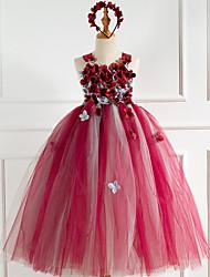 cheap -Kids Little Girls' Dress Rainbow Jacquard Christmas Mesh Patchwork Red Maxi Sleeveless Flower Vintage Cute Dresses New Year Regular Fit