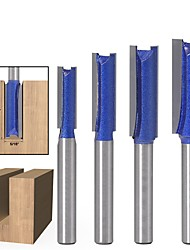cheap -4pcs 1/4'' Shank Planer Drill Professional Slotted Straight Router Bit Milling Cutter Trimming Knife Carpentry Tool Accessories