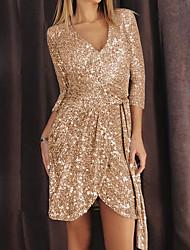 preiswerte -Eng anliegend Glänzend Sexy Party Wear Cocktailparty Kleid V-Ausschnitt Halbe Ärmel Kurz / Mini Pailletten mit Schärpe / Band Paillette 2020