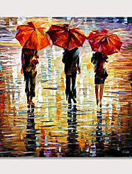 cheap -Hand Painted Wall Art for Living Room People in Rain Colorful Oil Painting on Canvas Picture Poster Decoration for Home Decor No Frame Rolled Without Frame