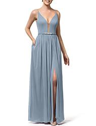 cheap -Sheath / Column V Neck Floor Length Chiffon Bridesmaid Dress with Pleats / Crystals / Split Front