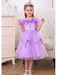 cheap -Princess Belle Rapunzel Dress Flower Girl Dress Girls' Movie Cosplay A-Line Slip Vacation Dress Purple Dress Halloween Children's Day Masquerade Polyester