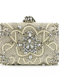 cheap -Women's Bags Polyester / Velvet Evening Bag Crystals Beading for Party / Event / Party Champagne / Silver / Wedding Bags
