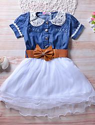 cheap -Kids Girls' Active Cute Blue Solid Colored Short Sleeve Knee-length Dress Blue