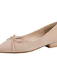 cheap -Women's Flats Summer Flat Heel Pointed Toe Daily Solid Colored Microfiber Almond / Black / Pink