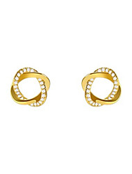 cheap -Women's White AAA Cubic Zirconia Stud Earrings Classic Flower Stylish Birthstones Earrings Jewelry Golden For Party Wedding Gift Daily Work 1 Pair