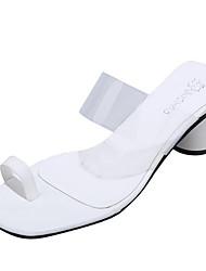 povoljno -Žene Sandale Ljeto Kubanska potpetica Otvoreno toe Dnevno Jednobojni PU Obala / Crn