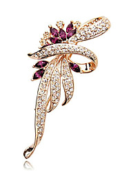 cheap -Women's Cubic Zirconia Brooches Geometrical Flower Stylish Imitation Diamond Brooch Jewelry Blue Purple Gold For Casual / Daily Festival