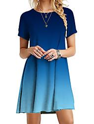 cheap -Women's Sheath Dress Knee Length Dress Short Sleeve Tie Dye Summer Work Hot Vintage 2021 Blue Red Blushing Pink Green Gray S M L XL XXL 3XL