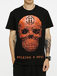 cheap -Men's Skull Letter T shirt Sequins Short Sleeve Daily Tops Cotton Basic Round Neck Black