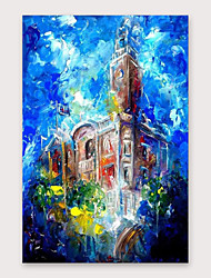 cheap -IARTS®Hand Painted Building building Oil Painting   with Stretched Frame For Home Decoration