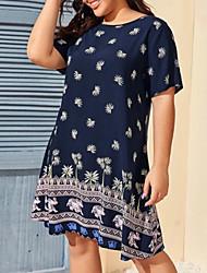 cheap -Women's A-Line Dress Knee Length Dress - Short Sleeves Floral Summer Casual 2020 Royal Blue XL XXL XXXL XXXXL