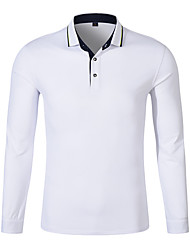 cheap -Men's Golf Polo Shirts Long Sleeve Breathable Quick Dry Soft Athleisure Outdoor Autumn / Fall Winter Spring Cotton Solid Color White Black Yellow Red Blue / Micro-elastic