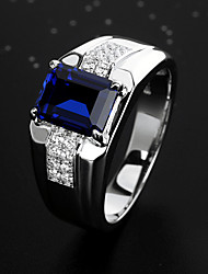 cheap -Men's Ring Promise Ring Cubic Zirconia 1pc Blue Alloy Cuboid Stylish Vintage Party Engagement Jewelry Cool