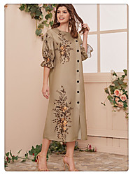 cheap -Women's Shift Dress Midi Dress - Half Sleeve Print Print Spring Summer Casual Daily Flare Cuff Sleeve 2020 Camel S M L XL