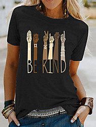 cheap -Women's Be kind T-shirt Letter Round Neck Tops Loose Basic Top White Black Blue
