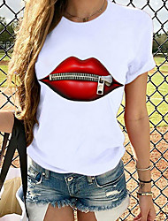 cheap -Women's T shirt Graphic Prints Round Neck Tops 100% Cotton Basic Top White Red